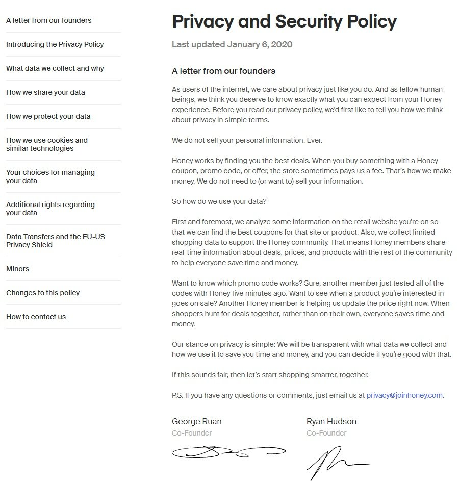 Honey Privacy and Security Policy: Intro letter and menu links