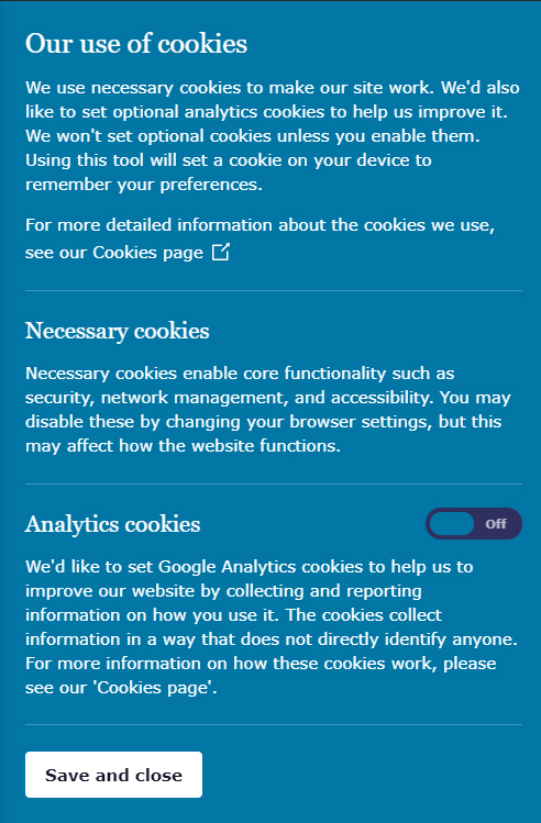 ICO Cookie Consent notice
