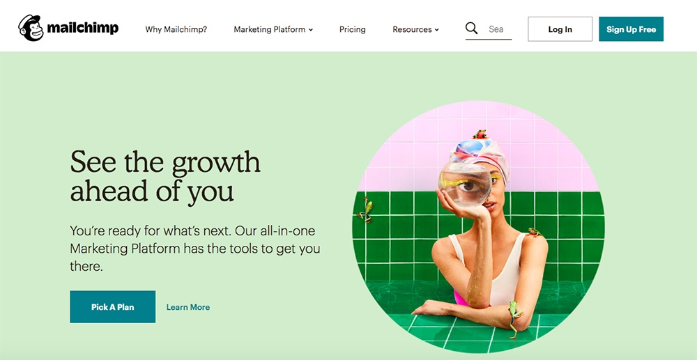 Screenshot of Mailchimp's homepage