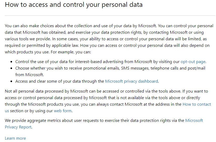 Microsoft Privacy Statement: How to access and control your personal data clause