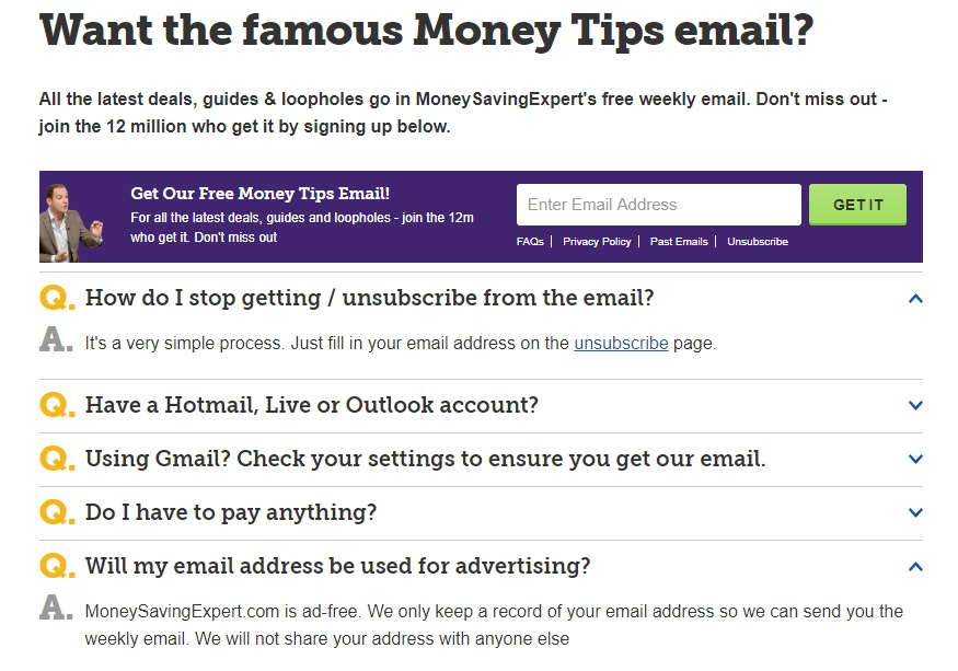 MoneySavingExpert email sign-up and FAQ