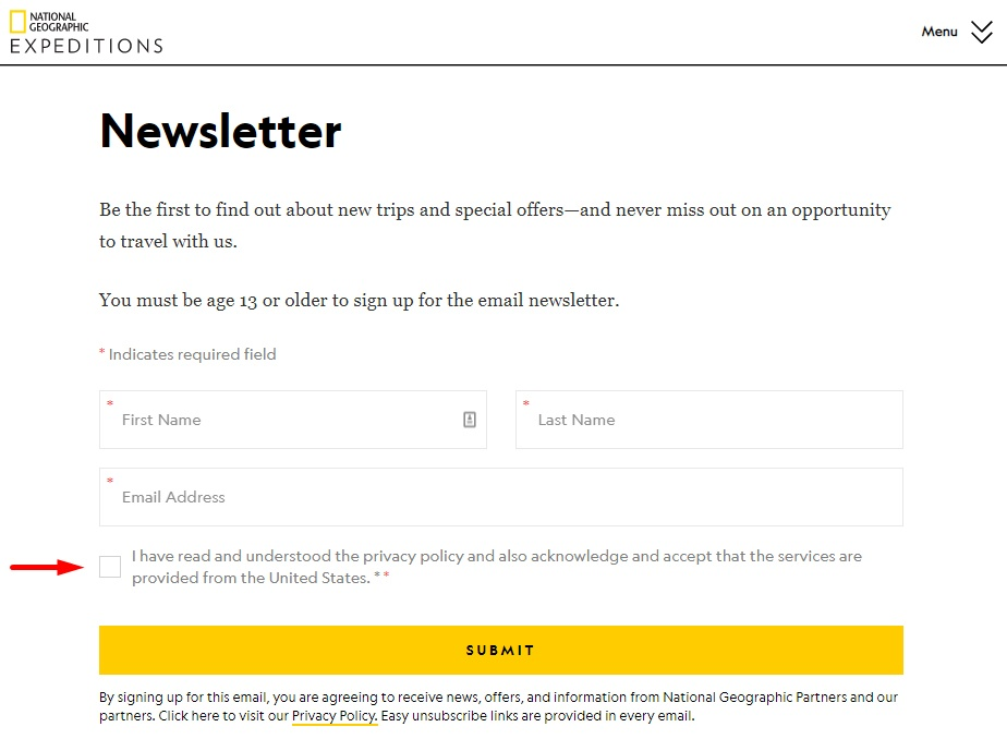 National Geographic Expeditions newsletter sign-up form with a clickwrap consent checkbox
