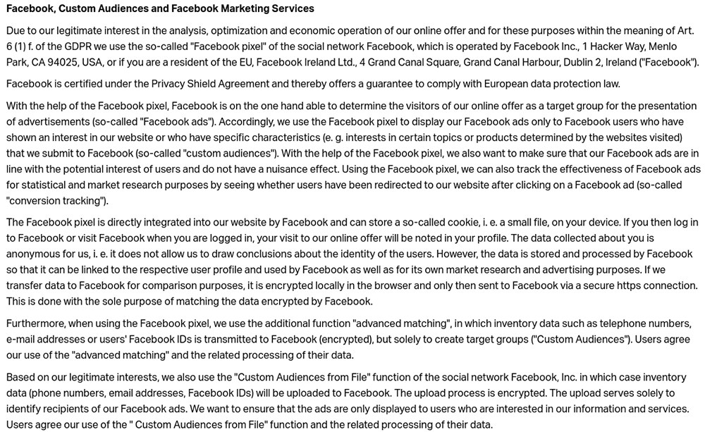Nice Label Privacy Policy: Facebook, Custom Audiences and Facebook Marketing Services clause excerpt