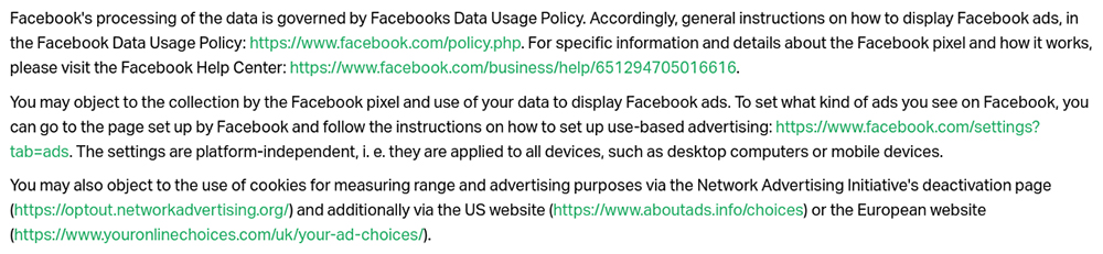 Nice Label Privacy Policy: Facebook, Custom Audiences and Facebook Marketing Services clause - Object to excerpt