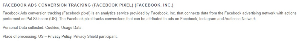 Pai Skincare UK Privacy Policy: Facebook Ads Conversion Tracking Pixel clause