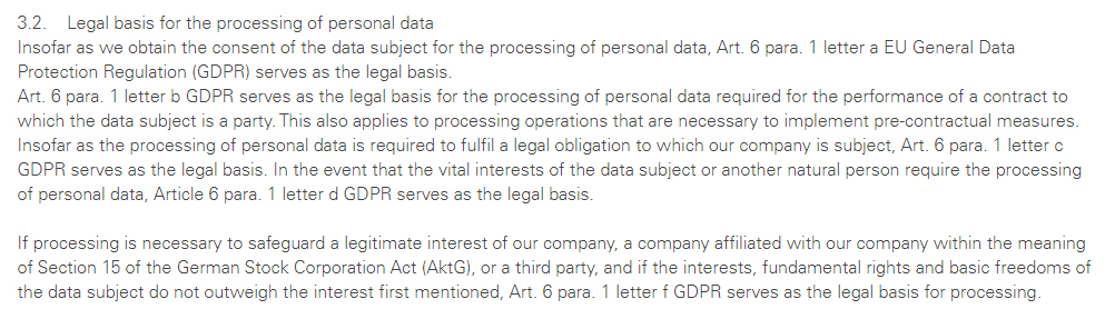 PERI UK Privacy Policy: Legal Basis for the Processing of Personal Data clause