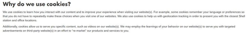 Shell Cookie Policy: Why do we use cookies clause intro