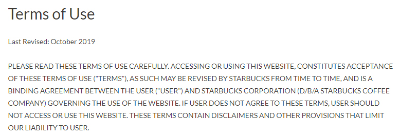 Starbucks Terms of Use: Browsewrap clause