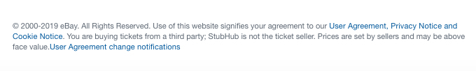 StubHub website footer with browsewrap statement and links