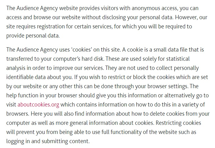 Audience Agency Privacy Policy: Cookies clause