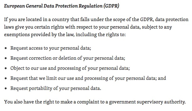 Automattic Privacy Policy: GDPR clause