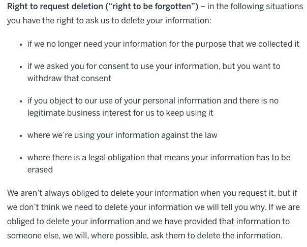 Lonely Planet Privacy Policy: Right to Request Deletion clause