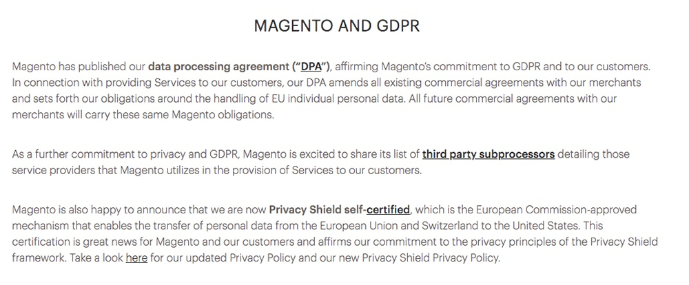 Magento and GDPR: Compliance summary