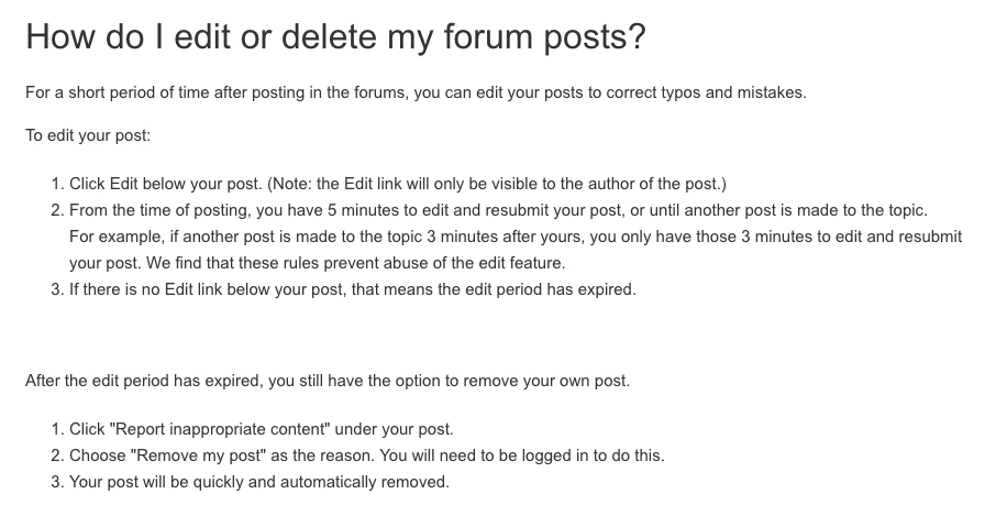 TripAdvisor Help Center: How to edit or delete forum posts