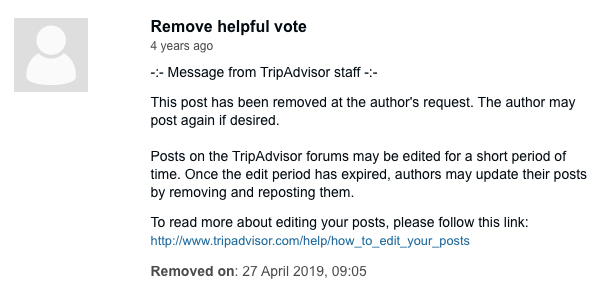 TripAdvisor: Removed Post notice