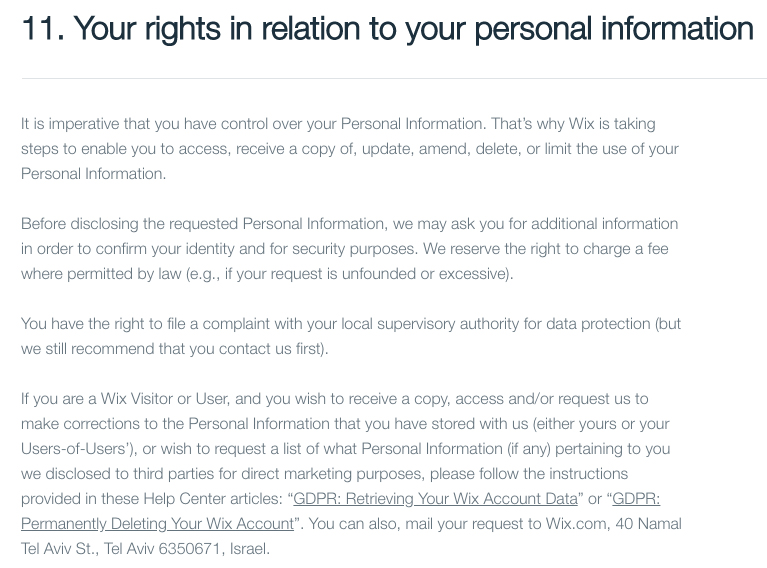 Wix Privacy Policy: Your rights in relation to your personal information clause