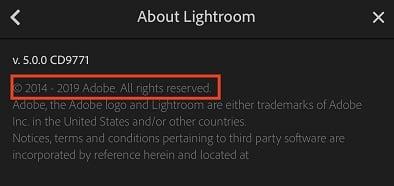 Adobe Lightroom app copyright notice - example