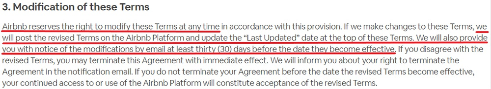 Airbnb UK Terms of Service: Modification of these Terms clause