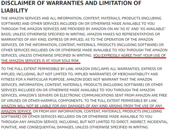 Amazon UK Conditions of Use: Disclaimer of Warranties and Limitation of Liability clause