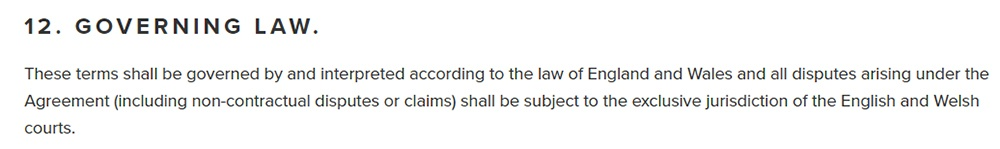 Andersen EV EULA: Governing Law clause
