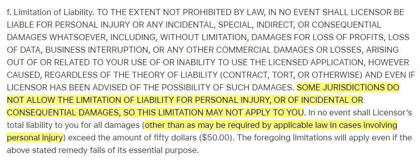 Apple EULA: Limitation of Liability clause