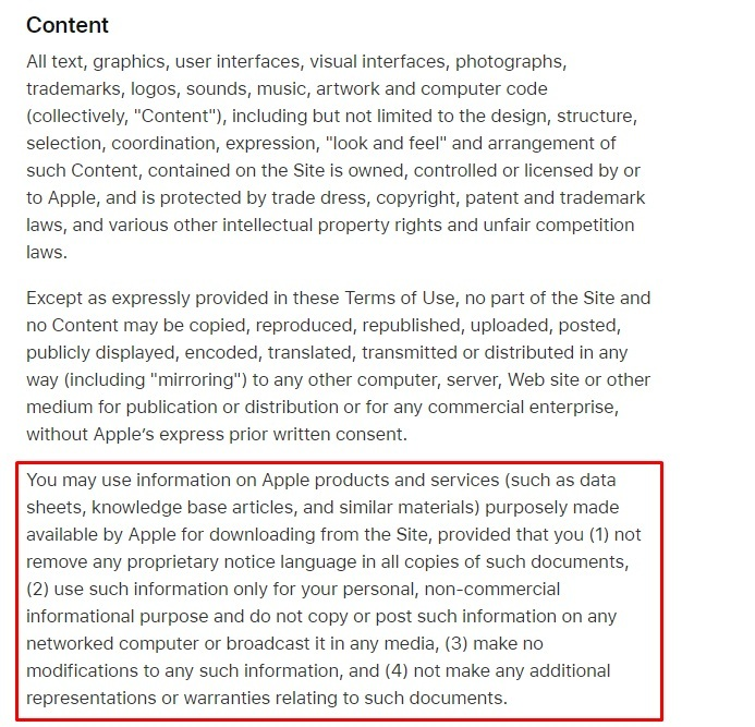 Apple UK Terms of Use: Content - Intellectual property clause