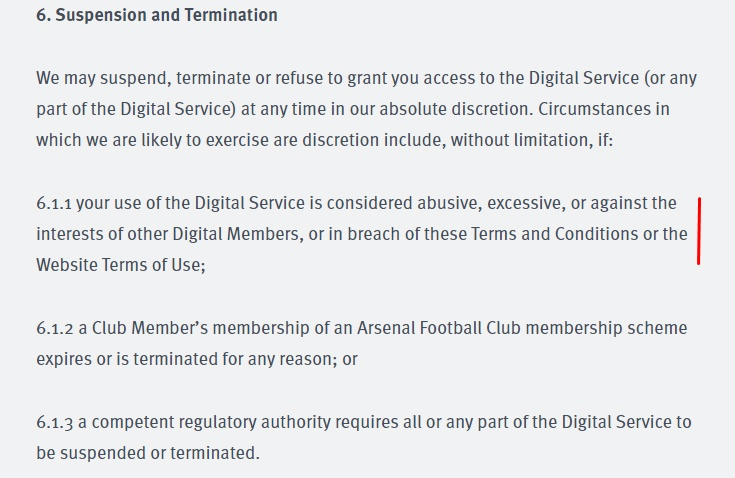 Arsenal Terms and Conditions: Suspension and Termination clause
