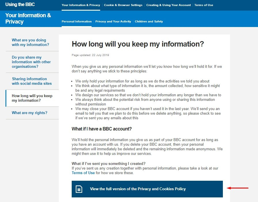 BBC: Your Information and Privacy - Data retention summary