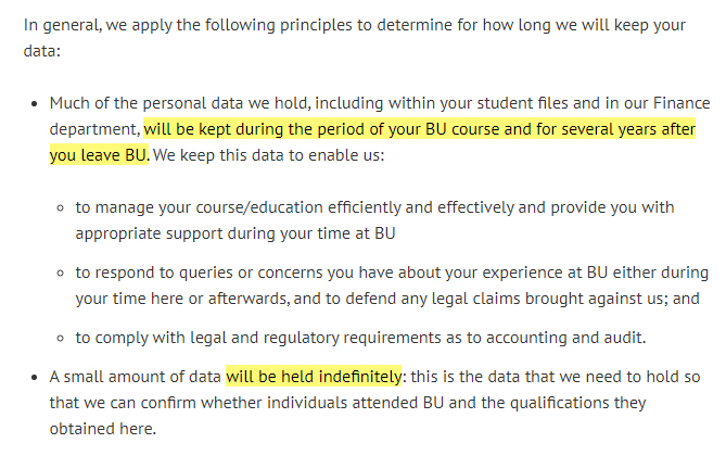 Bournemouth University Privacy Policy: Data Retention clause