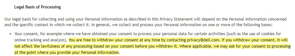 Dell Privacy Statement: Legal Basis of Processing clause - Consent section