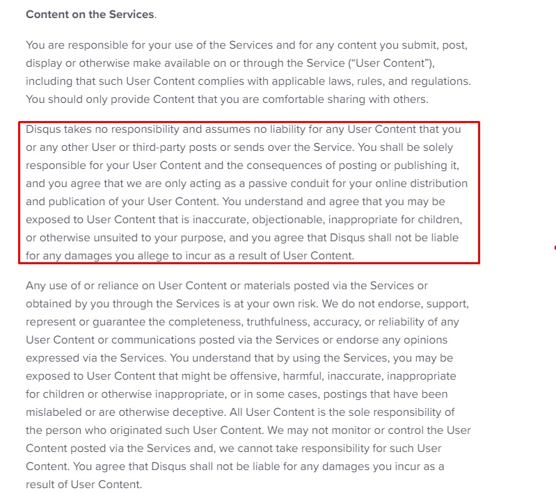 Disqus Terms of Service: Content - Limited liability clause