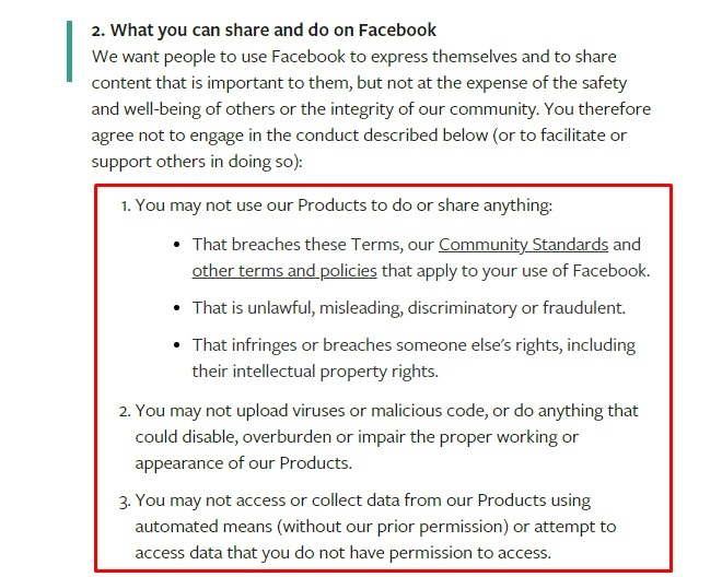 Facebook Terms of Service: Rules and restrictions clause