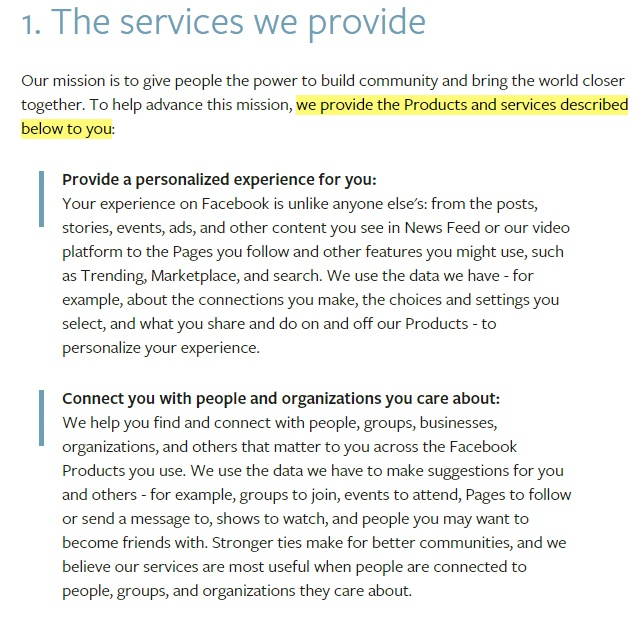 Facebook Terms of Service: Excerpt of Services We Provide clause