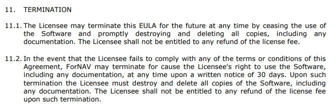 ForNAV EULA: Termination clause