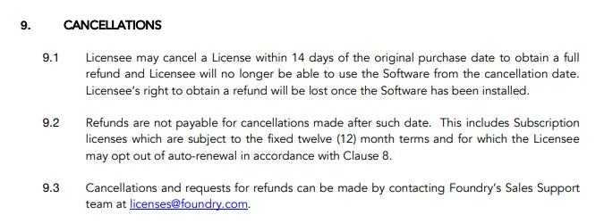 The Foundry EULA: Cancellations clause
