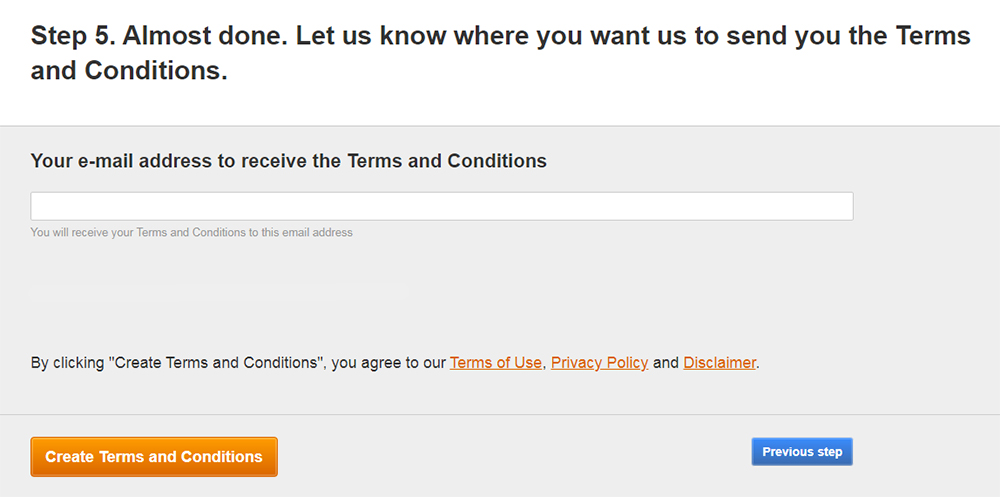 FreePrivacyPolicy: Free Terms and Conditions - Enter your email address - Step 4