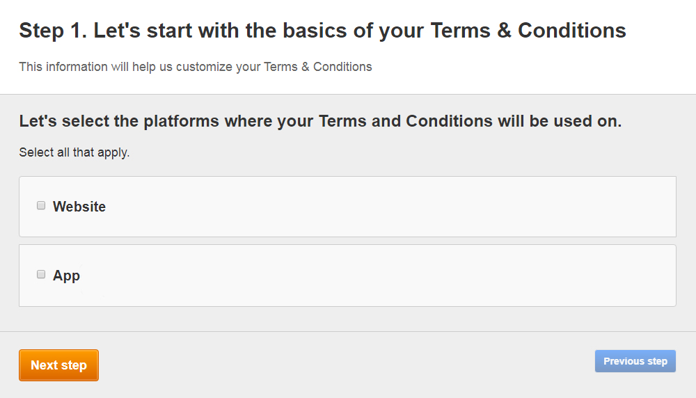 FreePrivacyPolicy: Free Terms and Conditions Generator - Select where your Free Terms and Conditions will be used - Step 1