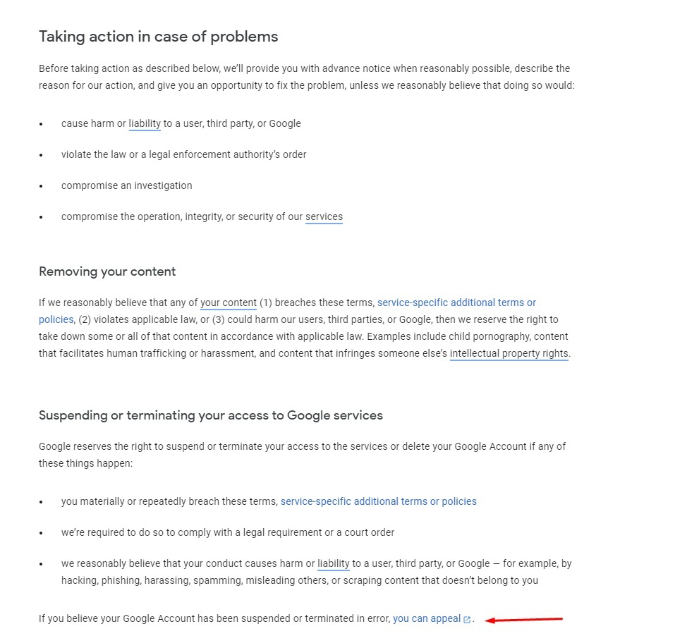 Google Terms of Service: Taking Action - Removing content, suspending or terminating access to services clause