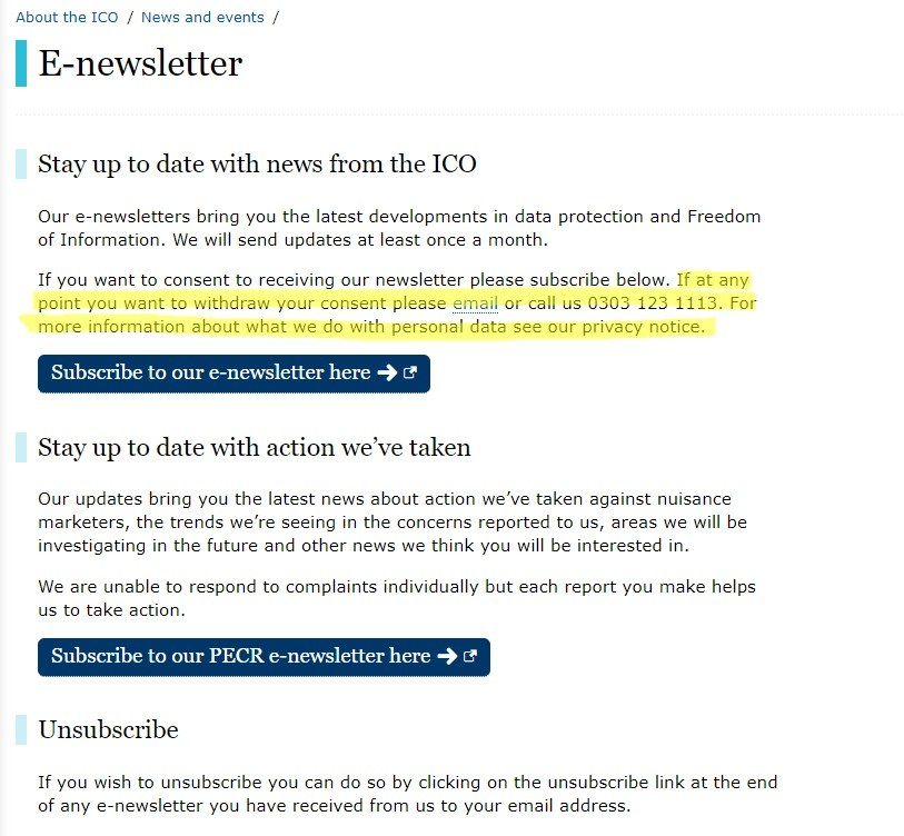 ICO email subscribe form with opt-out information