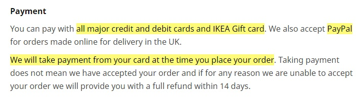 IKEA UK Terms and Conditions: Payment clause