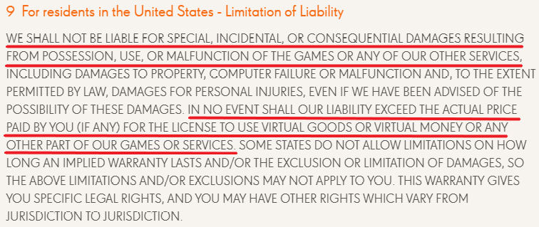 King Games Terms of Use: USA Limitation of Liability clause