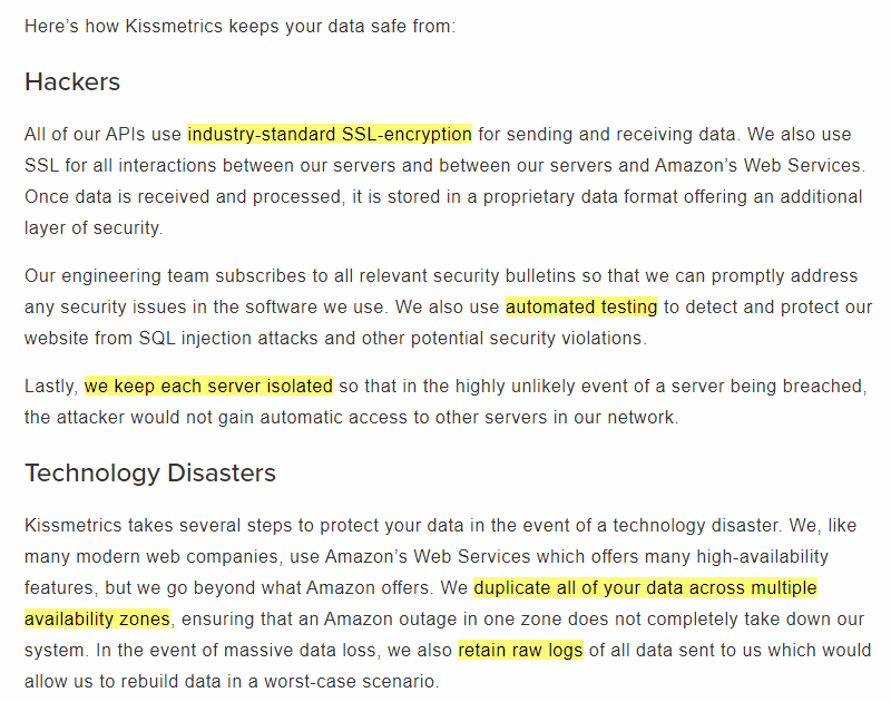 Kissmetrics How We Secure Your Data page - Hackers and Technology Disasters sections