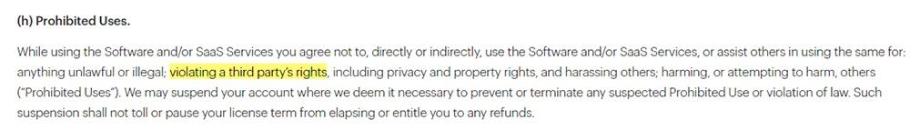 Malwarebytes EULA: Prohibited Uses clause