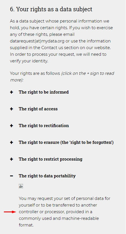 MyData Global Privacy Policy: Data Subject Rights - Data Portability clause