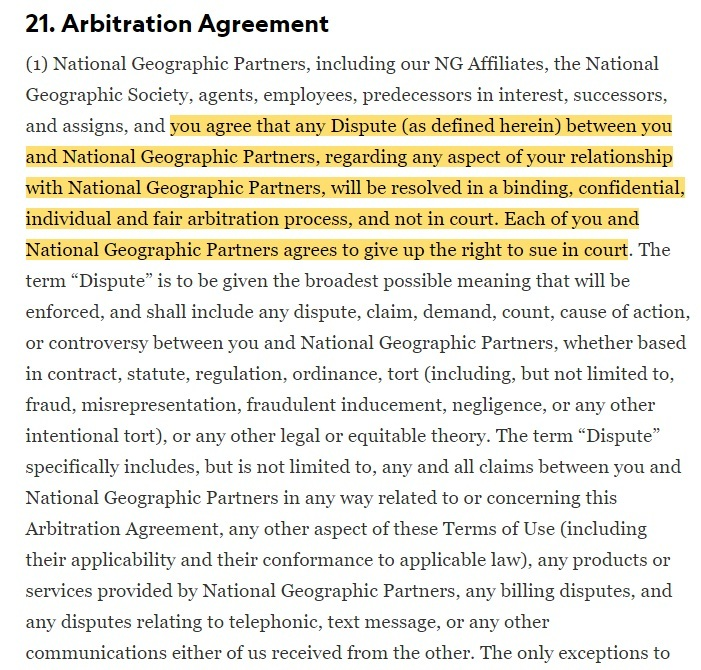 National Geographic Terms of Use: Arbitration Agreement clause