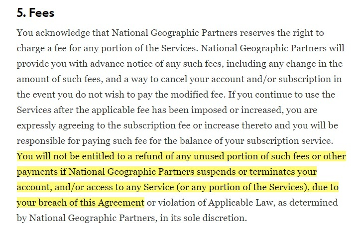 National Geographic Terms of Use: Fees clause