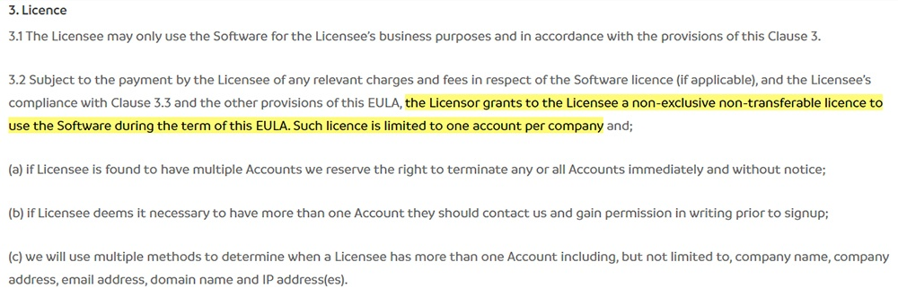 Natural HR EULA: Licence clause excerpt