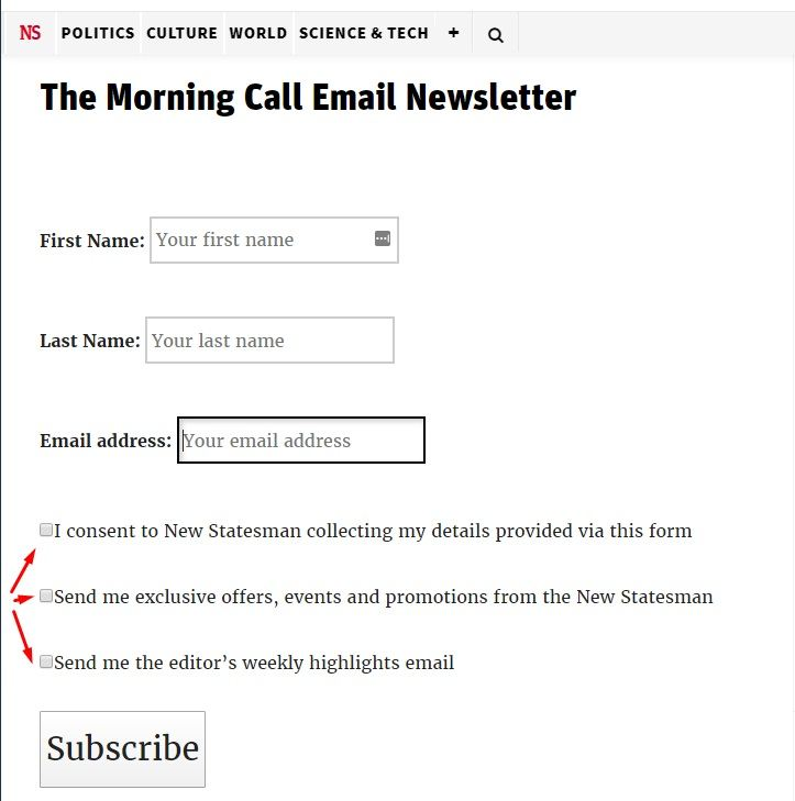 New Statesman email subscribe form with checkboxes