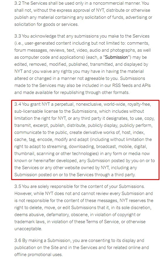 New York Times Terms of Service: User Generated Content clause excerpt