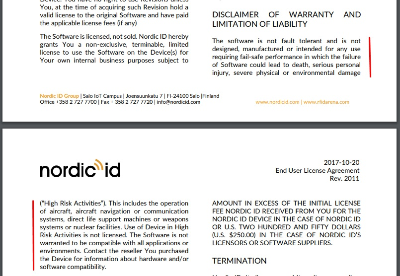 Nordic ID EULA: Disclaimer of Warranty and Limitation of Liability clause